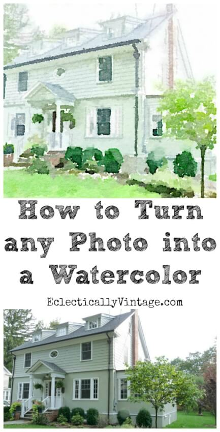photo of white house turned into watercolor painting