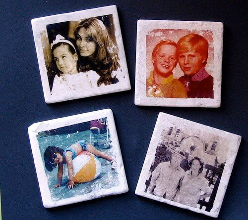 photo transfer onto tile family pictures coasters