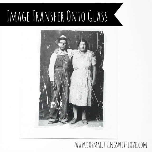 black and white photo transfer onto glass
