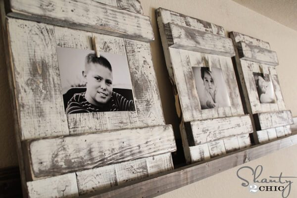 wooden upcycled photo picture frame black and white