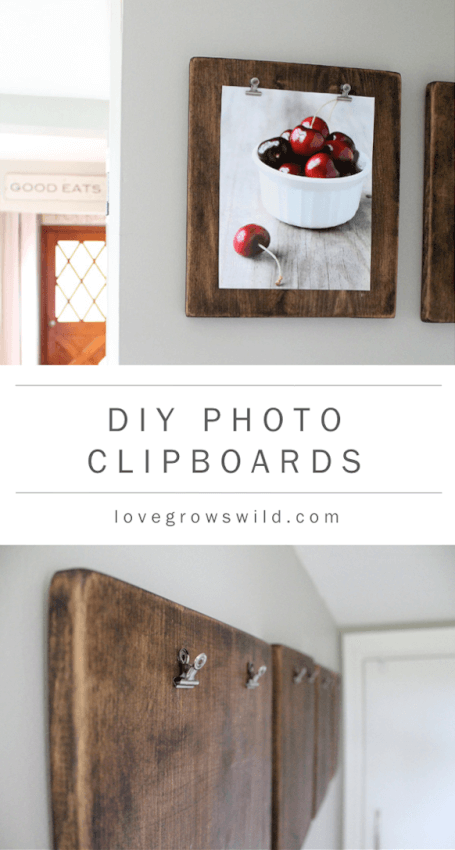 wooden clipboard with photo of red cherries