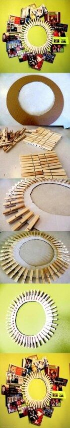 upcycled circular clothespin picture frame