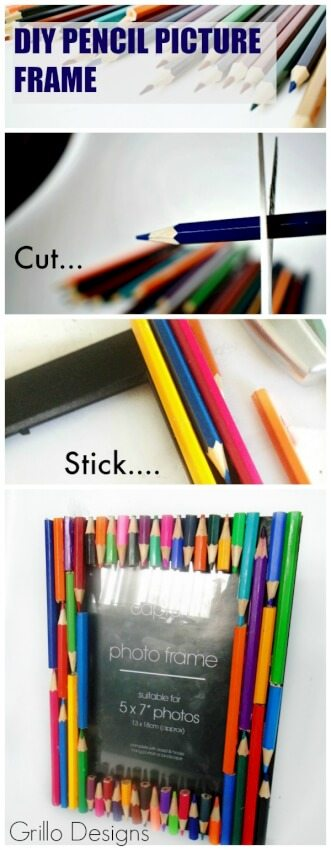 colored pencil DIY picture frame