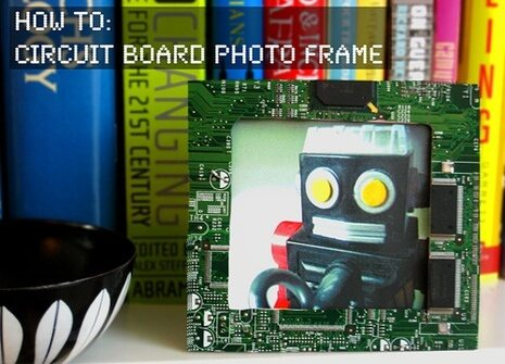 circuit board robot picture frame with computer books