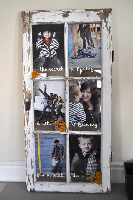 white shabby chic window picture frame with children in stripes