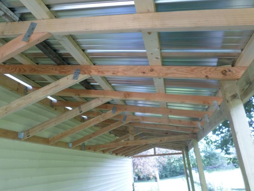 Galvanized steel 3x8 foot roofing panels attached to the 2x4 nailers