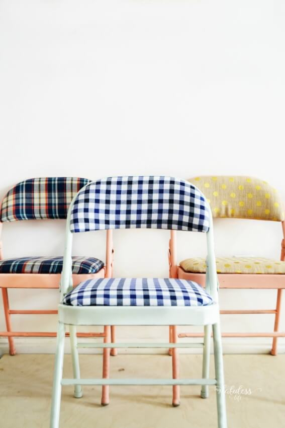 Breathe some new life into those old folding chairs with some fun fabric.