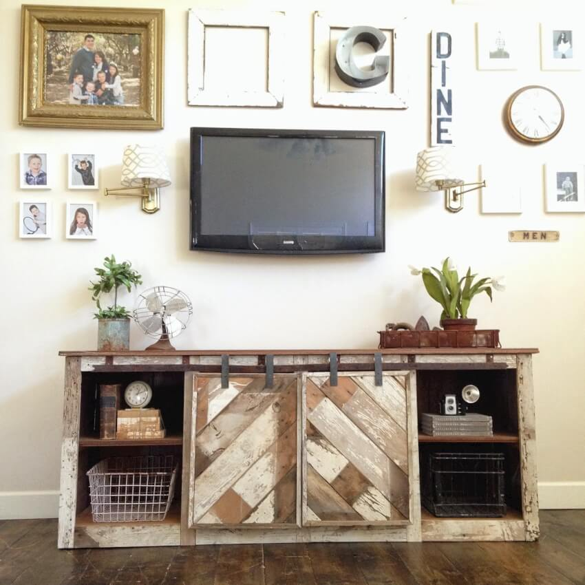 buffet or console with sliding barn doors