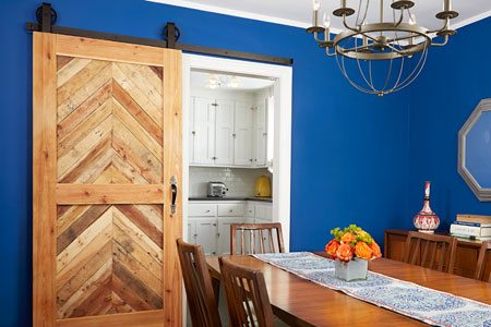 single sliding barn door with herringbone design