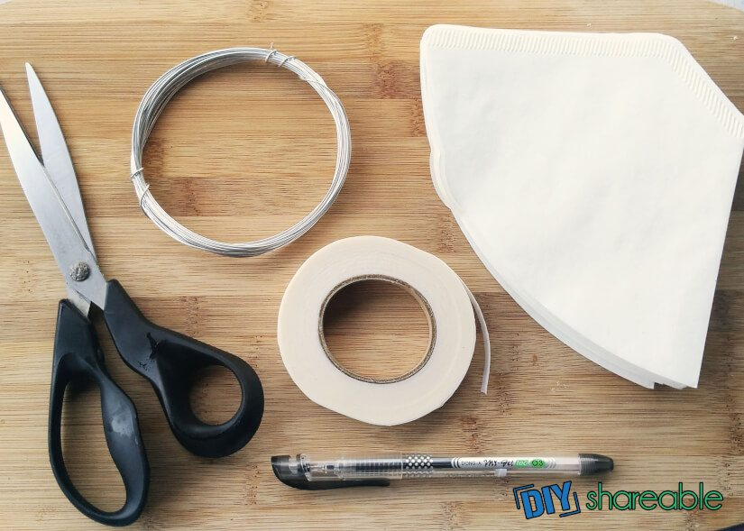 materials needed to make coffee filter flowers