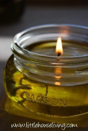 olive oil filled mason jar candles