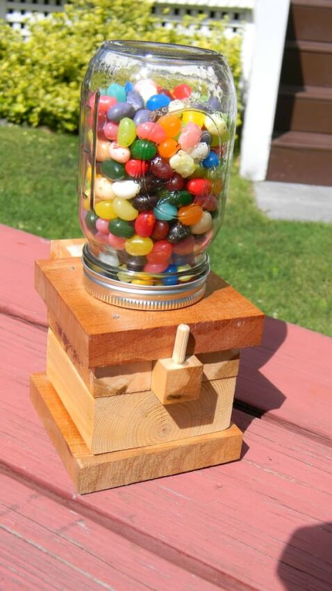 candy dispenser crafted from a mason jar