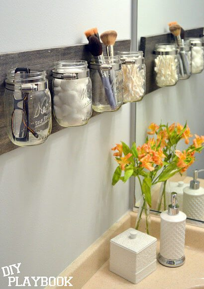 bathroom organizer from mason jars