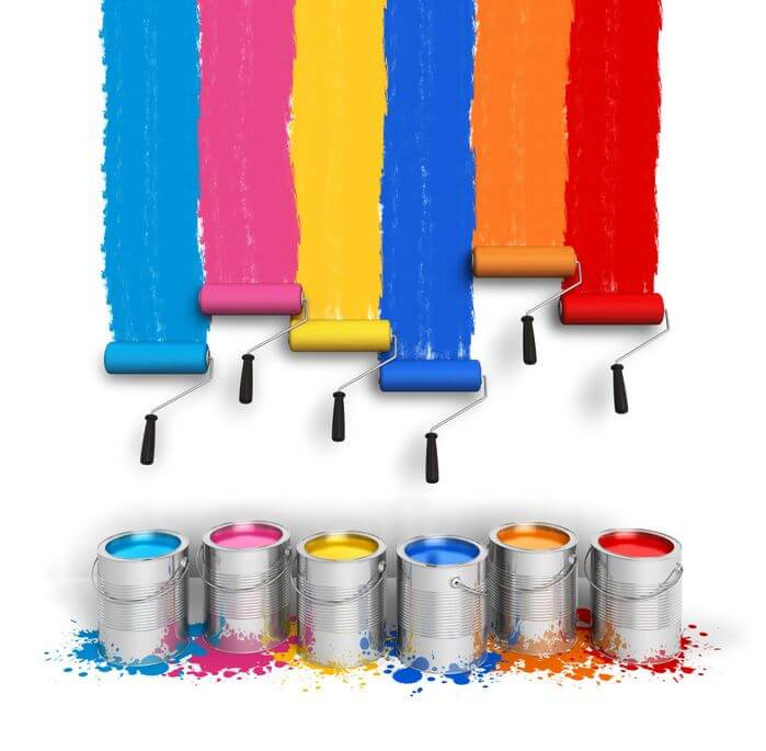paint cans and rollers of various colors