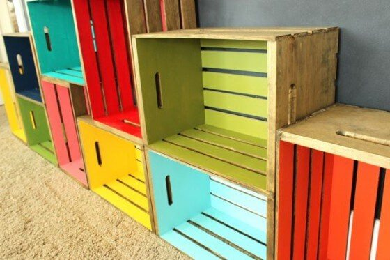 DIY wood crate bookshelves in many different colors