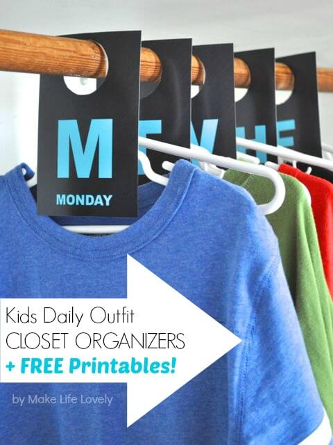 days of the week outfit organization for kids