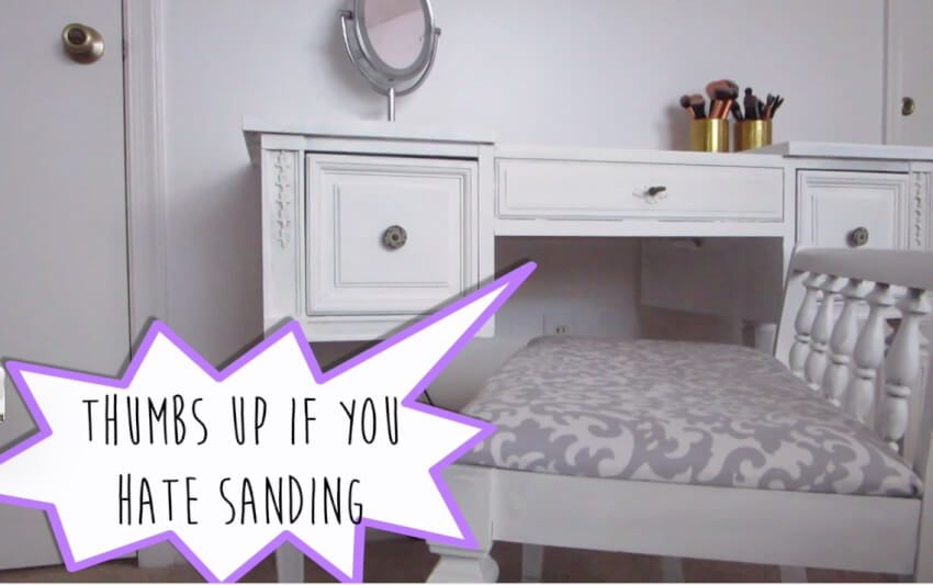 white refinished bedroom vanity no sanding
