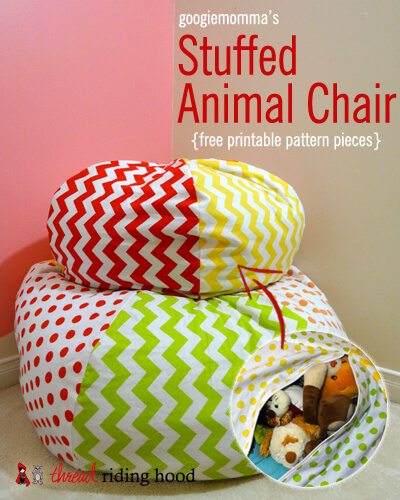 Very unique way to give stuffed animals a double purpose as stuffing for a chair made out of chosen fabric chair child's room storage organization