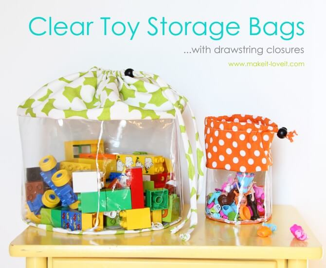 Clear cinch storage bags allows your child to see the toys they want to use.