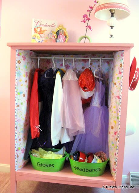 DIY dress up closet helps your little one keep costumes organized.