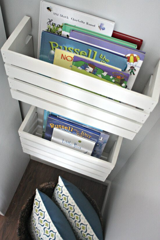 Half wood crate book shelves provide unique and ample storage