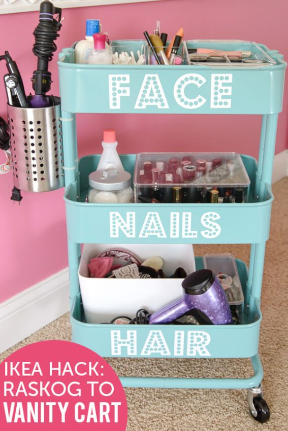 rolling vanity beauty station face nails hair
