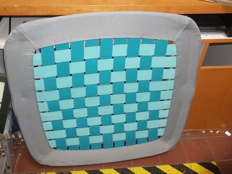 teal blue grey woven bungee chair
