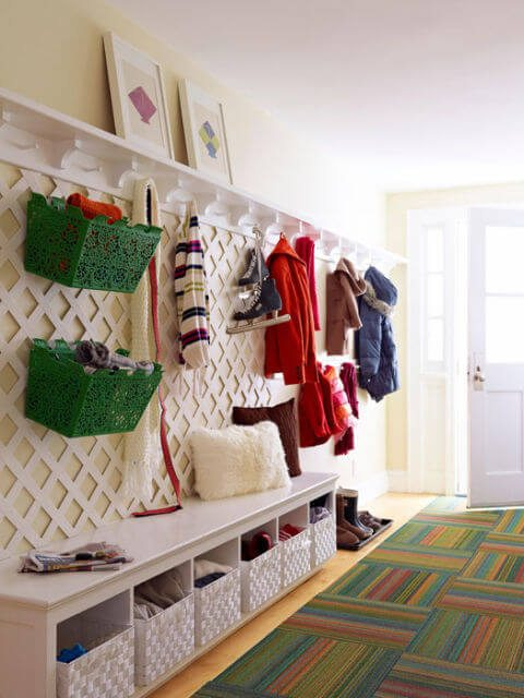 Mudroom storage using lattice board for hooks and extra storage