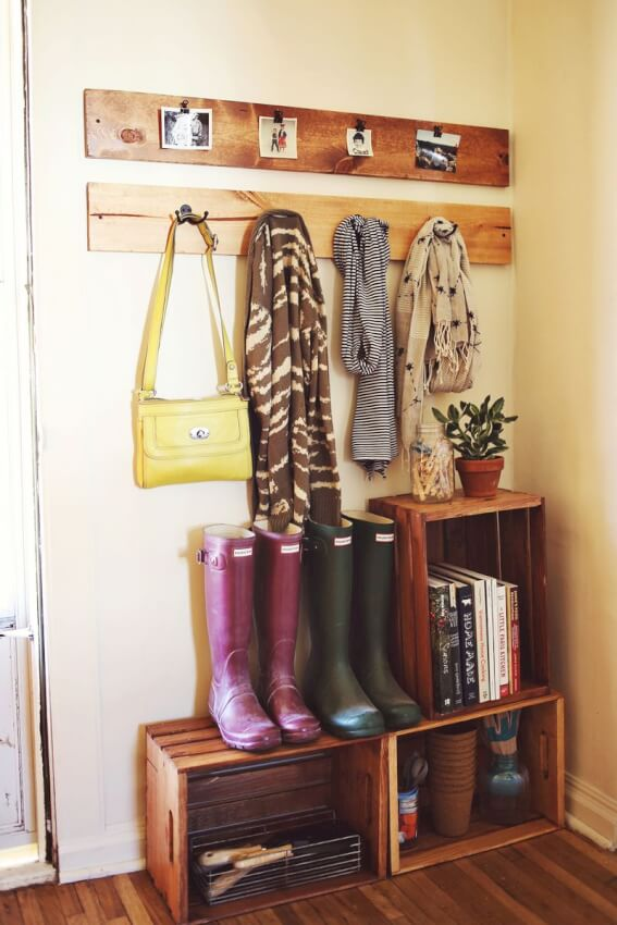Mudroom Storage From Crates