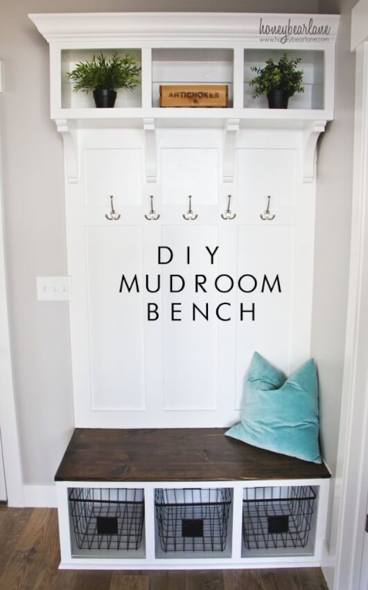 Diy Mudroom Bench With Storage Above And Below