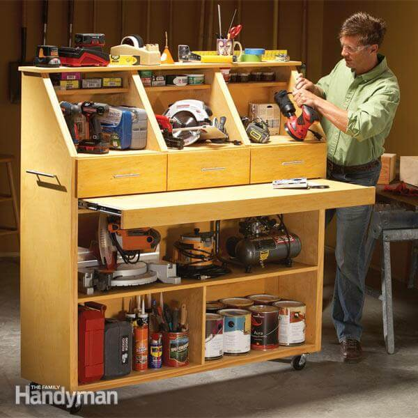 power tool storage with roll out desk