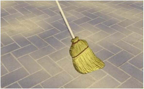 Cleaning the brick using broom