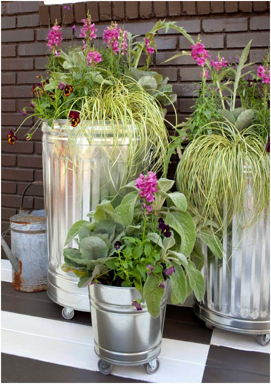 trashcan and plants of 7 Creative Small Space Gardening Ideas & Designs