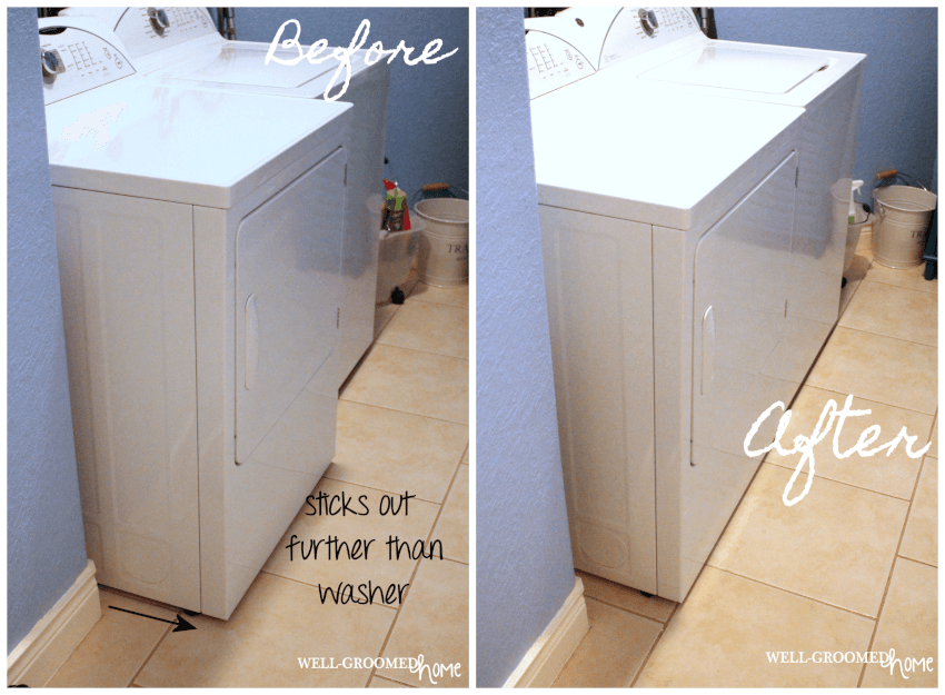 how to recess a dryer box to maximize laundry room space