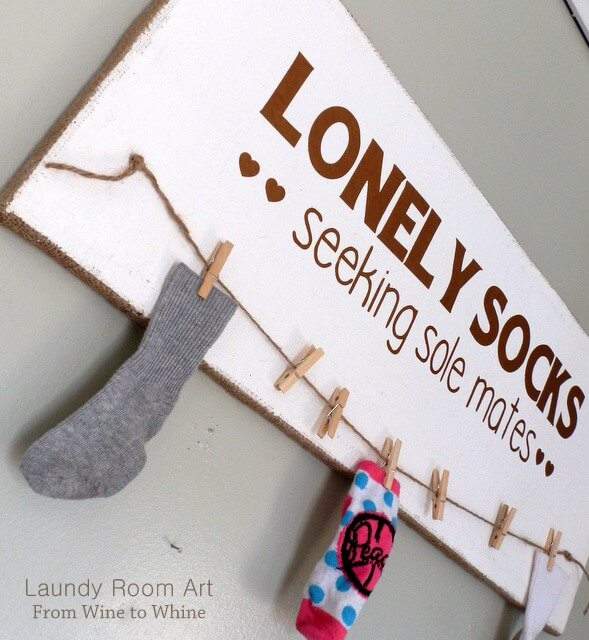 laundry room lost sock hanging station