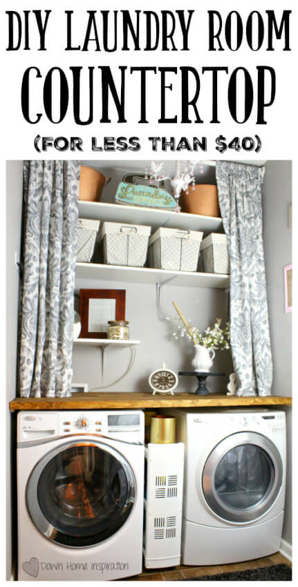 23 clever ways to kickstart your diy laundry room makeover built in laundry room countertop and shelving solutioingenieria Gallery