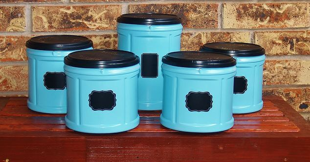 These plastic containers were upcycled and given a new purpose with some fresh paint and some labels.