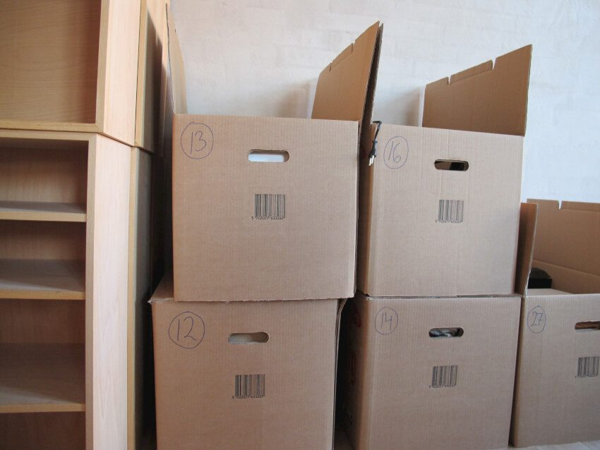 Stacks of moving boxes that look all too familiar to those still organizing their homes after a move.