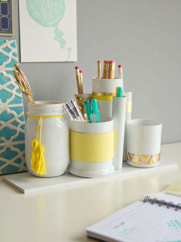 Give some order and some style to your horizontal surfaces by storing loose items in these attractive desk and counter organizers.