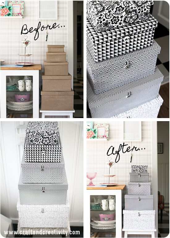 Sometimes storage boxes have to be stored out in the open. Might as well give them a makeover and make them decorative.