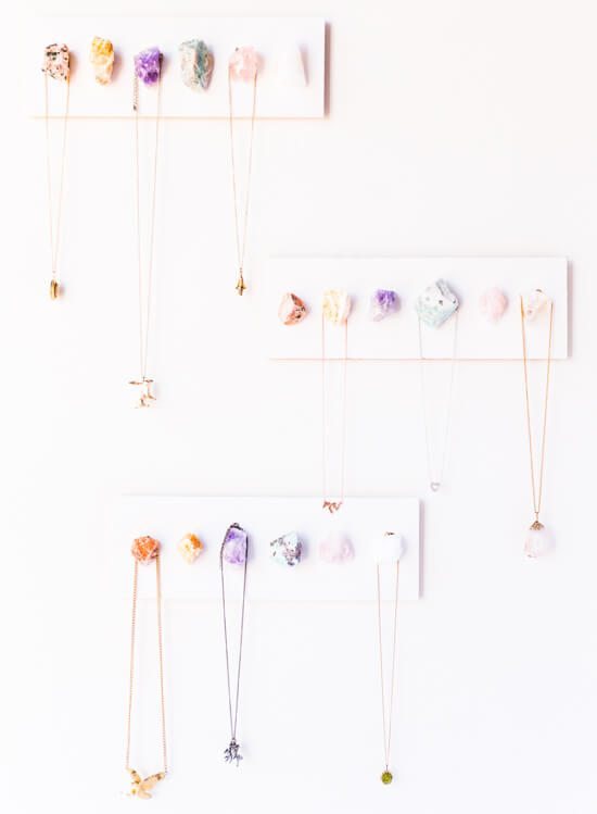 Give some order to your jewelry with this DIY jewelry organizer that uses colorful, polished stones of your choice.