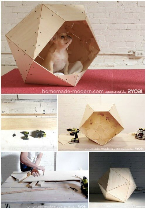 Geometric doghouse made from wood.