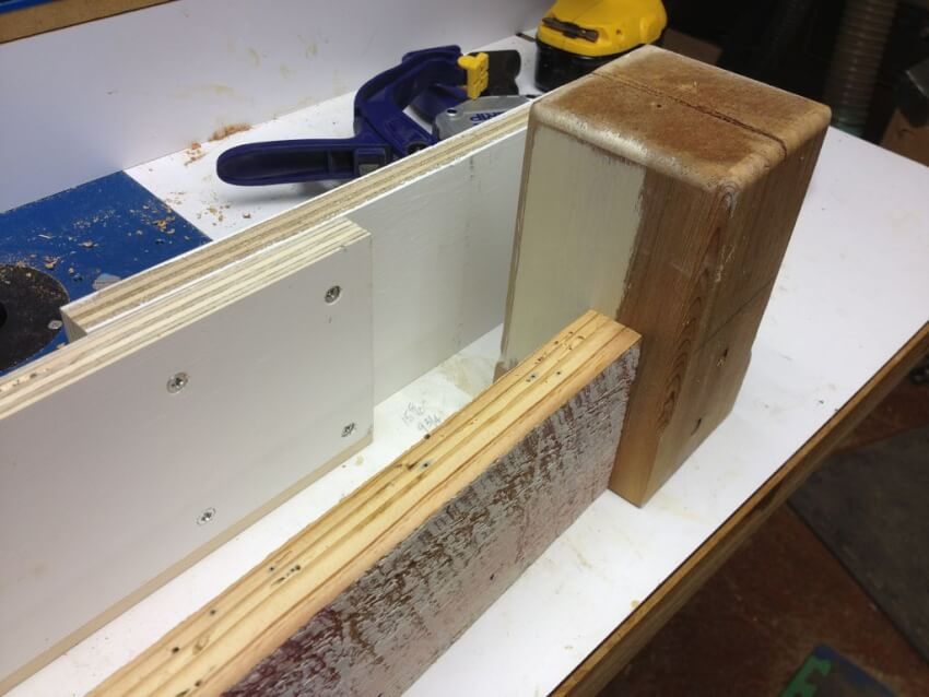 using plywood spacers to form a table base