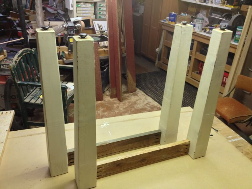 joining together the table base for a farmhouse table