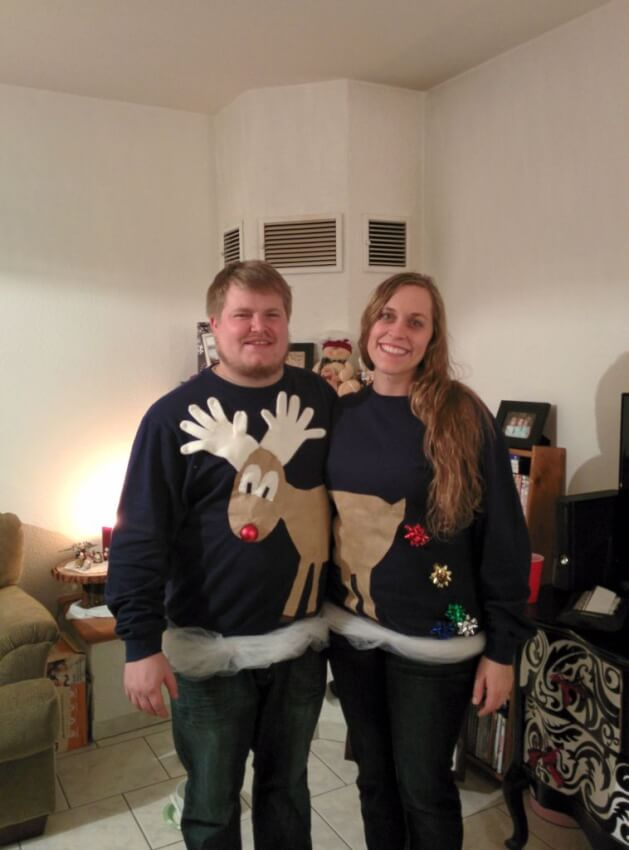 A couple making two halves on ugly holiday sweaters come together as one.  sc 1 st  DIY Shareable & 19 Ugly Christmas Sweater Ideas That Will Make Your Friends Laugh